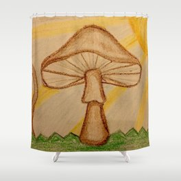 Mushrooms in the sun Shower Curtain