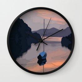Boat At Bozburun At Sunset Vector Image Wall Clock