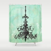 chandelier Shower Curtains featuring chandelier by jennifer tough