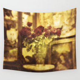 Red roses on the street Wall Tapestry
