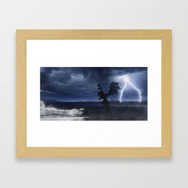 Dragon in the darkness Framed Art Print