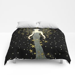 "Art Deco Sepia Illustration ""Star Studded Glamor"" Comforters"