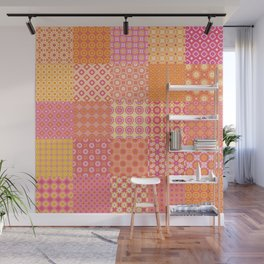 25 Designs Patchwork Tiles in Orange Pink and Yellow Wall Mural