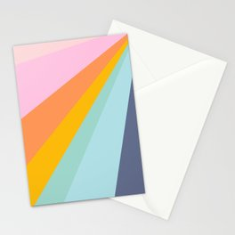 Colorful Retro Abstract Geometric Diagonal Stripes  Stationery Cards
