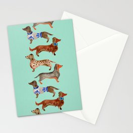 Dachshunds on Blue Stationery Cards