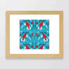 NZ Native Red Kereru (Wood Pigeon) and Fantail on Blue Framed Art Print