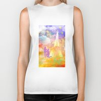 eiffel Biker Tanks featuring space Eiffel  by haroulita