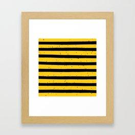 Black Yellow Vintage Stripes Pattern Framed Art Print