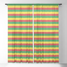 colorful rasta stripe pattern design Sheer Curtain