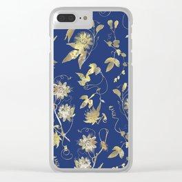 Elegant Gold Blue Passiflora Pattern Clear iPhone Case