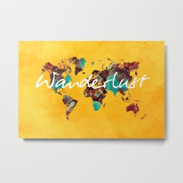 world map 123 wanderlust #wanderlust #map Metal Print