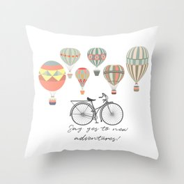 Adventures. Illustration with air balloons and bicycle in vintage hipster style Throw Pillow