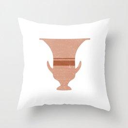 Minimal Abstract Greek Vase 13 - Calyx Krater - Terracotta Series - Modern, Contemporary Print Throw Pillow