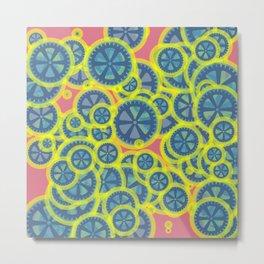 Random blue gearwheels Metal Print