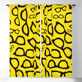 Smart Glasses Pattern - Black and Yellow Blackout Curtain