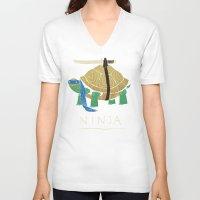 ninja turtle V-neck T-shirts featuring ninja - blue by Louis Roskosch