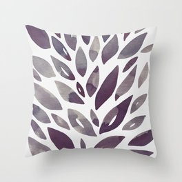 Watercolor floral petals - purple and grey Throw Pillow
