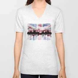 Great British Flag London Skyline 2 Unisex V-Neck