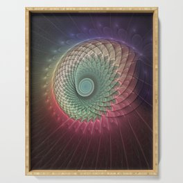Abstract And Colorful Snail, Fractal Art Serving Tray