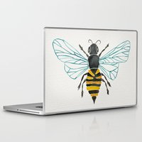 yellow Laptop & iPad Skins featuring Honey Bee by Cat Coquillette