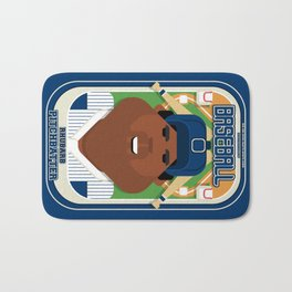 Baseball Blue Pinstripes - Rhubarb Pitchbatter - Hayes version Bath Mat