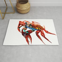 Crab, Sea World Crab Artwork, red crab, restaurant kitchen sea world art Rug
