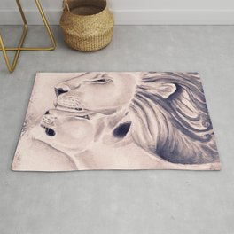 Two Lions Vintage Style Rug