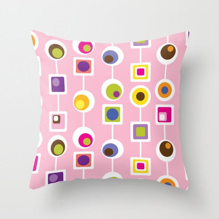 Mod Love Pink Throw Pillow