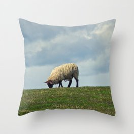 Sheep on the Hill Throw Pillow