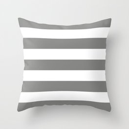 Battleship grey - solid color - white stripes pattern Throw Pillow