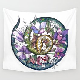 Snake and flowers Wall Tapestry