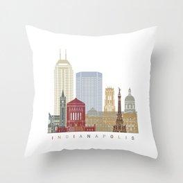 Indianapolis skyline poster Throw Pillow