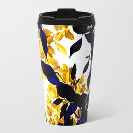 Abstract leaf pattern in blue & yellow Travel Mug