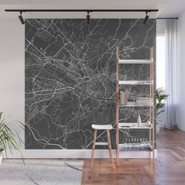 Florence Map, Italy - Gray Wall Mural
