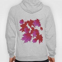 PURPLE-fuchsia maroon color blowing leaves Hoody