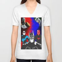nightwing V-neck T-shirts featuring Nightwing, Red Hood by dudesweet