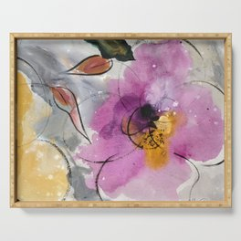 Softly Blushing Pink Abstract Floral Serving Tray