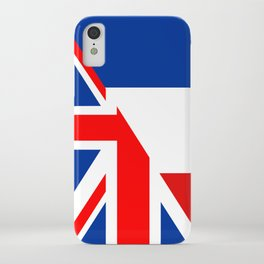 english french country half flag great britain united kingdom france iPhone Case