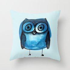 Blue Owl Boy Throw Pillow