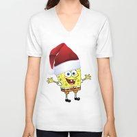 spongebob V-neck T-shirts featuring Spongebob Celebration by Neo Store
