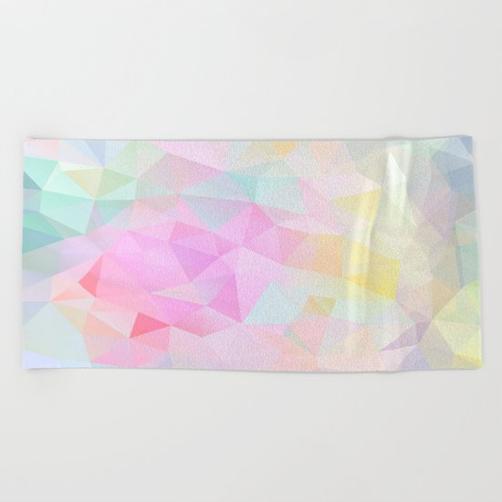 Abstract print of triangles, polygon in pastel colors Beach Towel