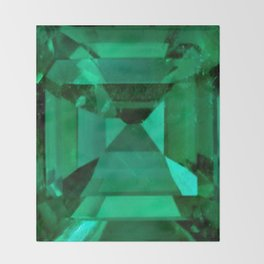 FACETED EMERALD GREEN MAY GEMSTONE Throw Blanket