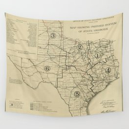 Vintage Texas Highway Map (1917) Wall Tapestry