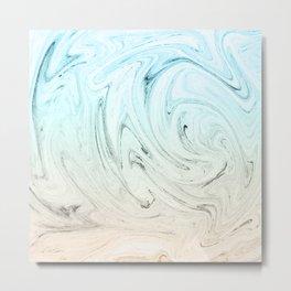 BLUE AND PEACH LIQUID MARBLING Metal Print