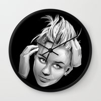 miley cyrus Wall Clocks featuring Miley Cyrus by anomaly alice