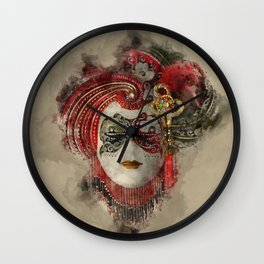 Venetian Mask 1 Wall Clock