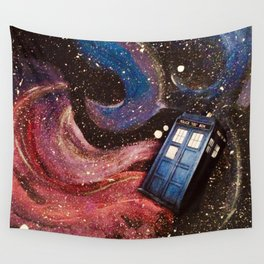 TARDIS in space Wall Tapestry