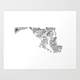 Maryland - Hand Lettered Map Art Print
