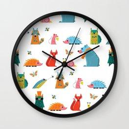 Scandinavian woodland animals pattern print Wall Clock