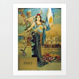 1910 Fernet Branca Liqueur Aperitif Advertisement Poster Print Art Print